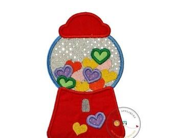 LIQUIDATION SALE Candy heart bubblegum machine, Valintine's day emboridered iron on applique, pre-made ready to ship, DIY, Holiday, Love