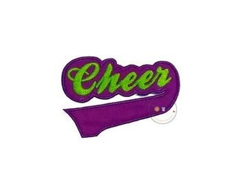 LIQUIDATION SALE Purple and green Cheer  iron on applique, Fall sports no sew patch , Machine embroidered football fabric applique