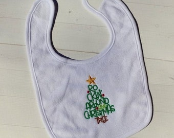 CLEARANCE Rocking around the Christmas Tree embroidered terri cloth baby bibs for boy and girls