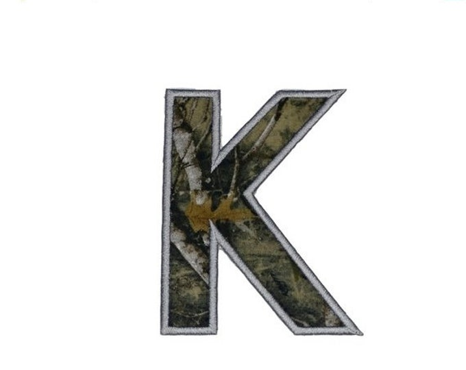 LIQUIDATION SALE Woodland camo iron on letters A-Z - 4.75 inch Machine embroidered fabric alphabet- quick shipping
