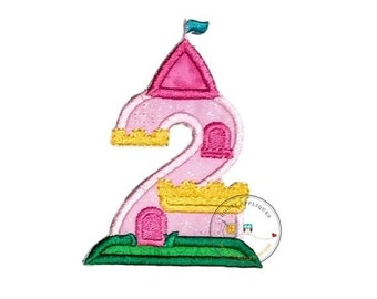 LIQUIDATION SALE Princess castle birthday number two machine embroidered patch, fast shipping iron on girl birthday applique, Pink and yello