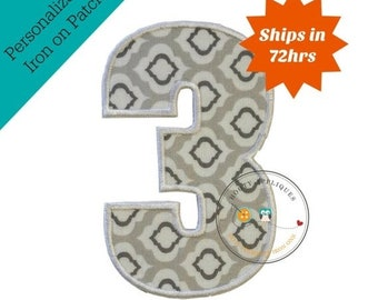ON SALE Large gray and white number 3- iron embroidered fabric applique patch embellishment- ready to ship