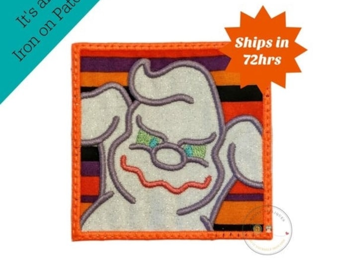 LIQUIDATION SALE Ghost in block iron on applique- no sew machine embroidered Halloween patch- spooky white ghost-DIY boutique fashions- read