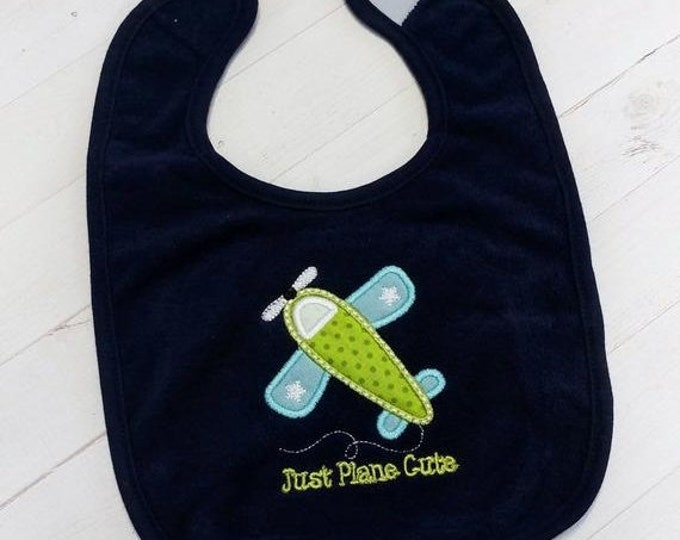CLEARANCE Just plane cute with green and  blue  air plane embroidered terri cloth baby bibs for boy and girls