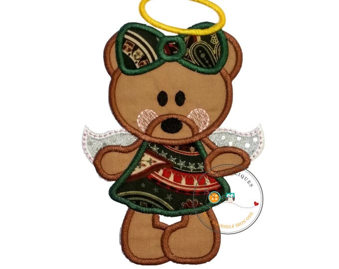 Christmas angel bear - iron on embroidered fabric applique patch- Holiday angle iron on applique, Sweet bear iron on patch