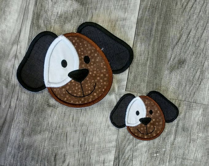 Chocolate and white puppy face iron t-shirt applique- ready to ship
