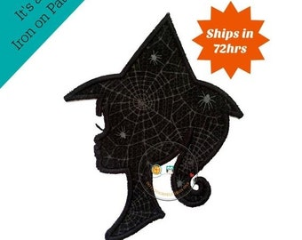 ON SALE halloween witch sillouette - iron embroidered fabric applique patch embellishment- ready to ship