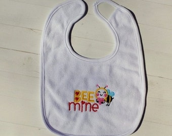 CLEARANCE Bee Mine Valentine's day white embroidered terri cloth baby bibs  girls and boys