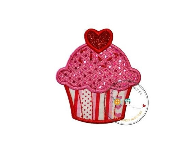 LIQUIDATION SALE Sequin valentine personalize cup cake iron on applique, embroidered iron on patch for girls, ready to ship, iron on embelli