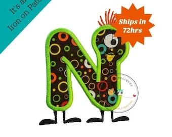 LIQUIDATION SALE Monster letter N applique, initial embroidered patch, iron on applique letter for kids, iron on letter embellishment, iron