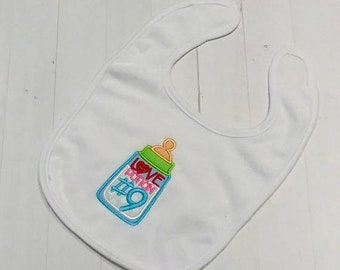 On Sale NOW Love potion number 9 white embroidered Koala Baby cloth baby bibs for 6-12 month old girls and boys