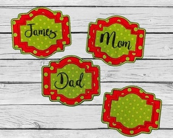 """ON SALE Personalized Christmas Stocking Iron on Name Tag- 4"""" Green and Red Holiday monogram applique"""