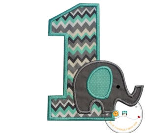Baby elephant first birthday iron on applique number, Elephant themed 1st birthday party iron on patch, Peanut elephant theme 1st birthday