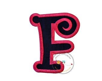 Chunky curls letter F iron on applique, Girls nautical monogram, iron on initial F, Blue and pink monogram letter F, Ready to ship