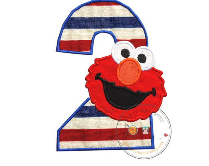 Patriotic, number two birthday/holiday iron on patch embroidered in cobalt blue with red puppet face embroidered in red with detailed face