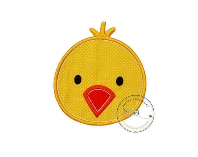 LIQUIDATION SALE Bright yellow chick iron on patch,  Easter chick machine embroidered heat press patch for clothing, quick shipping applique