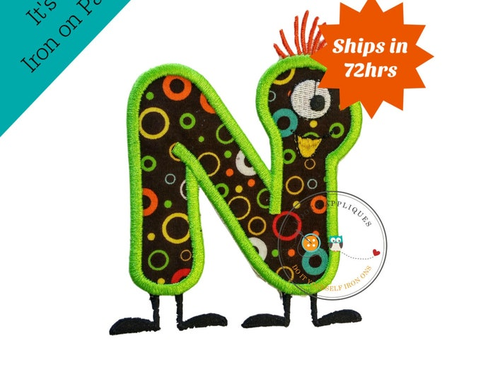 Monster letter N applique, initial embroidered patch, iron on applique letter for kids, iron on letter embellishment, iron on monogram patch