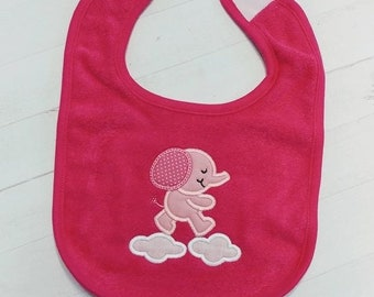 CLEARANCE Sweet elephant blue or pink embroidered terri cloth baby bibs for boy and girls