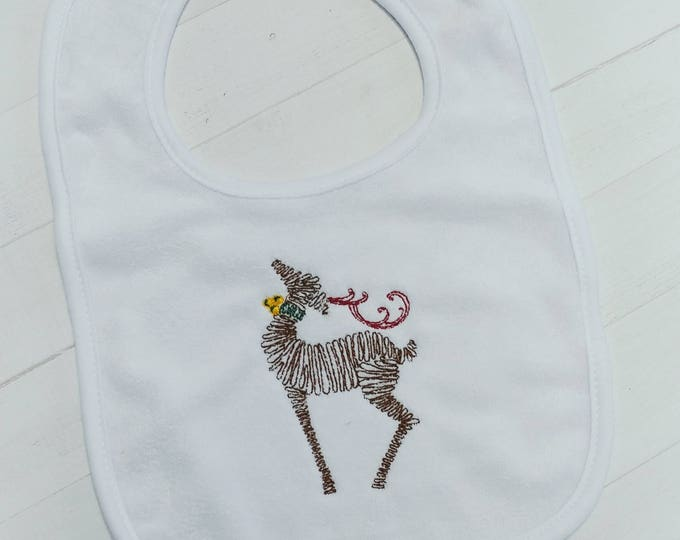 Christmas reindeer- Christmas Holiday white embroidered terri cloth baby bibs for boy and girls