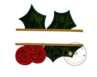 Christmas mistletoe split iron on applique, Split mistletoe holiday iron on patch, embroidered glitter mistletoe iron on applique, pre-made