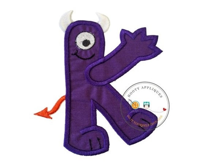 LIQUIDATION SALE Monster letter K applique, initial embroidered patch, iron on applique letter for kids, iron on letter embellishment, iron