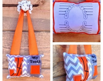 LIQUIDATION SALE Basketball Letter tooth fairy pocket pillow, Gift for boys- Basketball initial