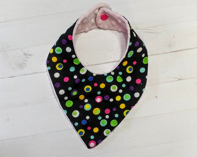Bright polka dot black Bandana baby bib for girls with soft pink mink fabric, Cotton and Mink baby bibs