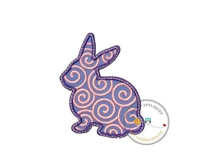 LIQUIDATION SALE Pink and purple bunny sillouette iron on applique, pink and lavender Easter bunny fabric iron on fish patch, ships in 72hrs