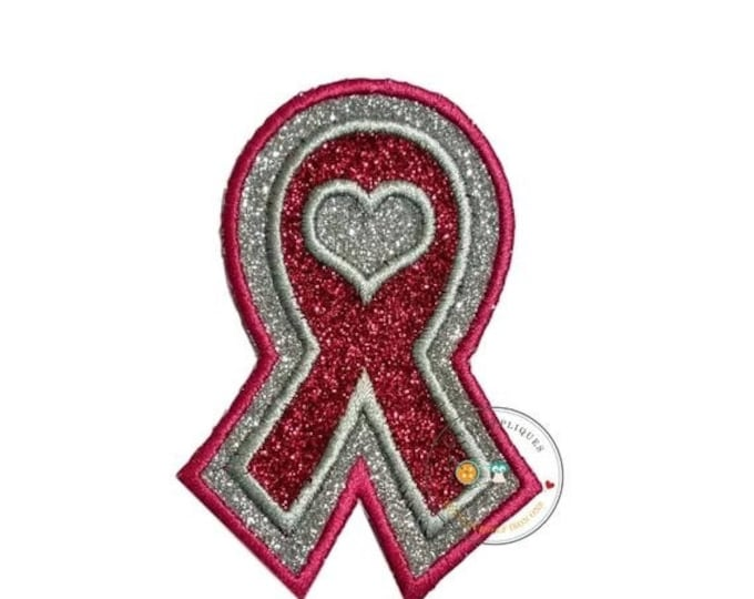 LIQUIDATION SALE Glitter awareness ribbon- Iron on embroidered fabric applique patch embellishment- ready to ship