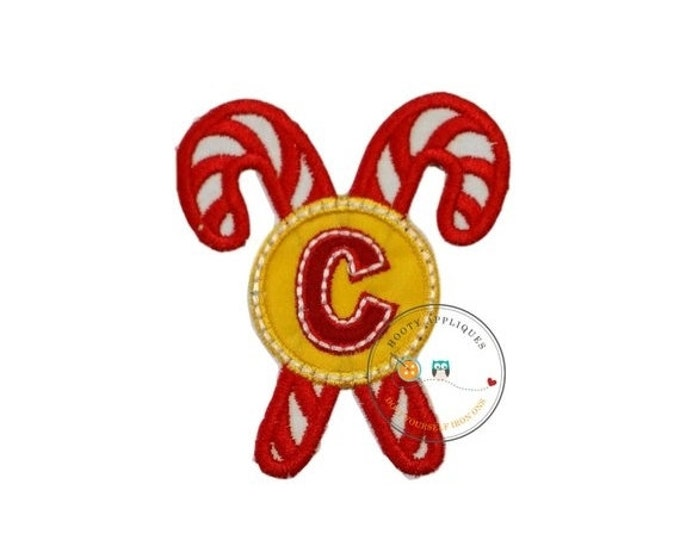 LIQUIDATION SALE Christmas candy cane initial letter C- iron embroidered fabric applique patch embellishment- ready to ship