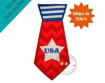 ON SALE Shirt tie iron on applique, red white and blue, 4th of July embroidered fabric iron on patch, large patriotic shirt tie iron on