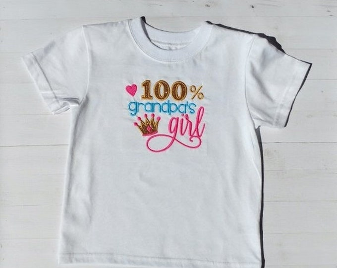LIQUIDATION SALE 100% grandpa's girl  embroidered t shirt - tee for girl- tops for toddlers