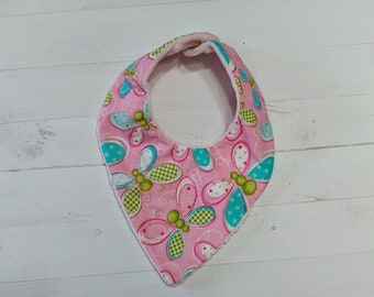 Spring pink Bandana baby bib for girls with soft pink mink fabric, Cotton and Mink baby bibs