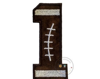 LIQUIDATION SALE Football number one iron on applique-4x4 football number 1 machine embroidered fabric patch-DIY boutique fashions