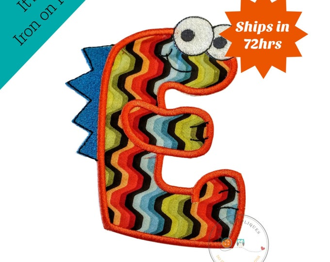 Monster letter E applique, initial embroidered patch, bright iron on applique letter, iron on letter embellishment, iron on monogram patch