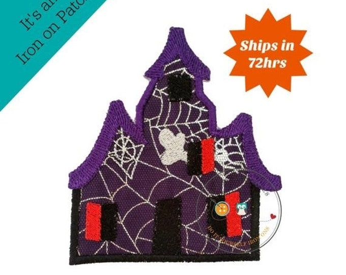 LIQUIDATION SALE Large spooky house purple iron embroidered fabric applique patch embellishment- ready to ship