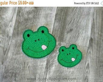 LIQUIDATION SALE Green frog face iron on applique, reptile iron on patch,  ready to ship