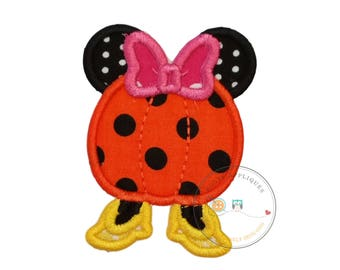 Small  4x4 Girl pumpkin with mouse ears Halloween fabric iron on applique, Halloween machine embroidered no-sew patch for girls