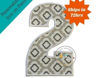 ON SALE Large gray and white number 2- iron embroidered fabric applique patch embellishment- ready to ship