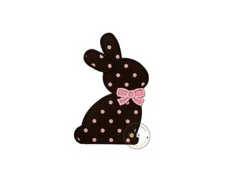 LIQUIDATION SALE Chocolate brown Easter bunny sillouette with pink bow tie fabric machine embroidered applique for clothing, patch for kids