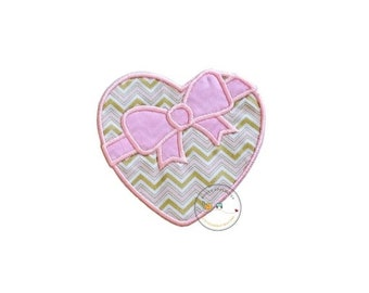 LIQUIDATION SALE heart shaped candy box iron on applique, pink and gold Valentine's day box of candy patch, ready to ship iron on patch for
