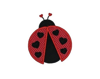 LIQUIDATION SALE Love bug Valentine's Day Applique- 4 inch iron on patch- ***Ships in 72 Hours***