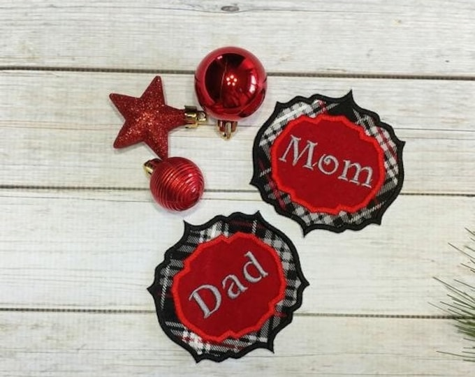 """LIQUIDATION SALE Personalized Christmas Stocking Name Patch- 3.25"""" Red and black plaid name badge"""