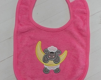 On Sale NOW Sheep and the moon blue embroidered terri cloth baby bibs for boy and girls