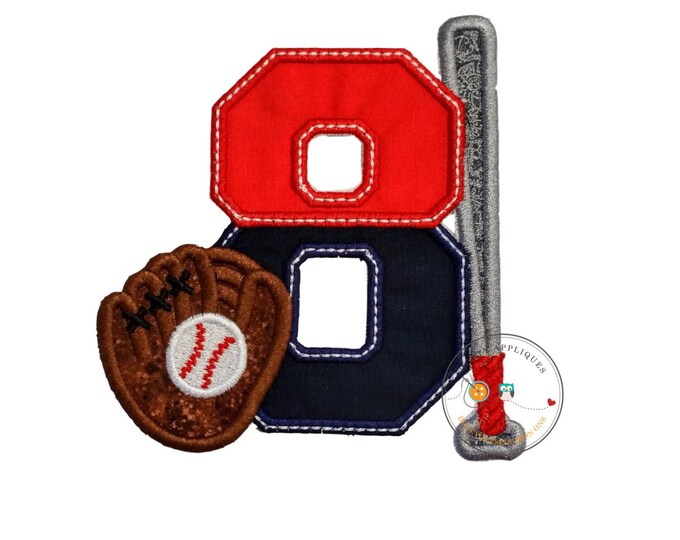 Two tone baseball theme birthday number 8 iron on applique, Embroidered fabric iron on baseball birthday patch, sport birthday number eight,