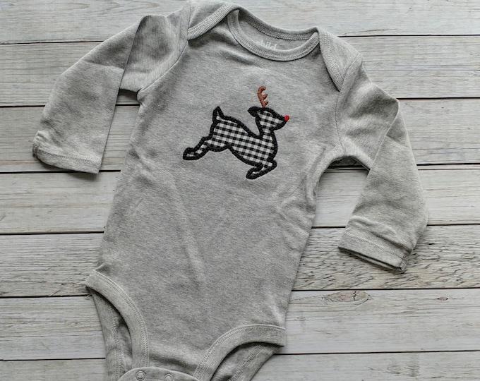 Buffalo plaid Reindeer baby long sleeve onesie- Ready to ship