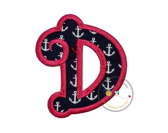 On Sale NOW Chunky curls letter D iron on applique, Girls nautical monogram, iron on initial D, Blue and pink monogram letter D, Ready to sh