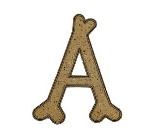 Bone letters iron on applique