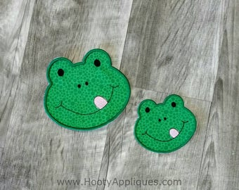 Green frog face iron on applique, reptile iron on patch,  ready to ship