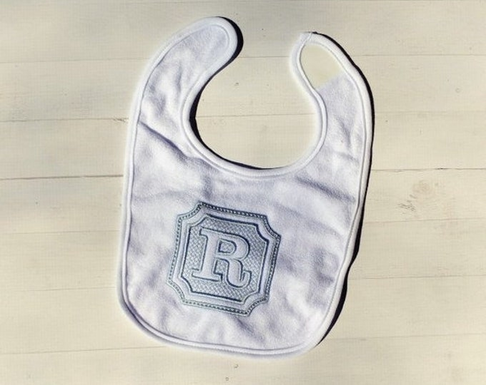 CLEARANCE Embossed initial letter Letter R embroidered Koala Baby cloth baby bibs for 6-12 month old